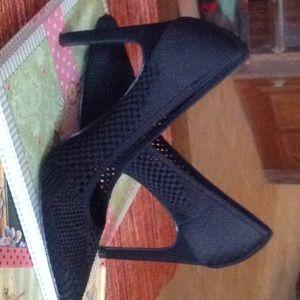 Black Fishnet Heels
